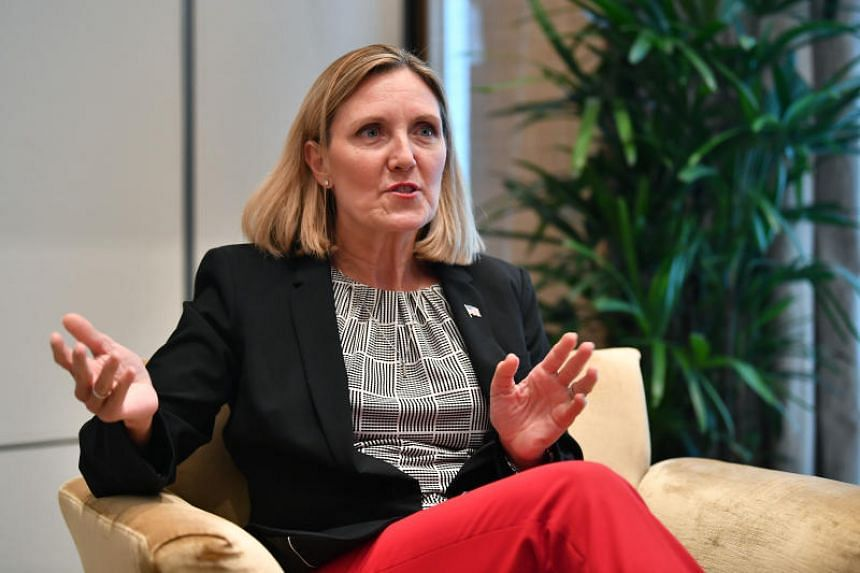 Under Secretary of State for Arms Control and International Security Andrea L. Thompson speaks to media on the sidelines during IISS Shangri-La Dialogue 2019 at Shangri-La Hotel on June 2, 2019.