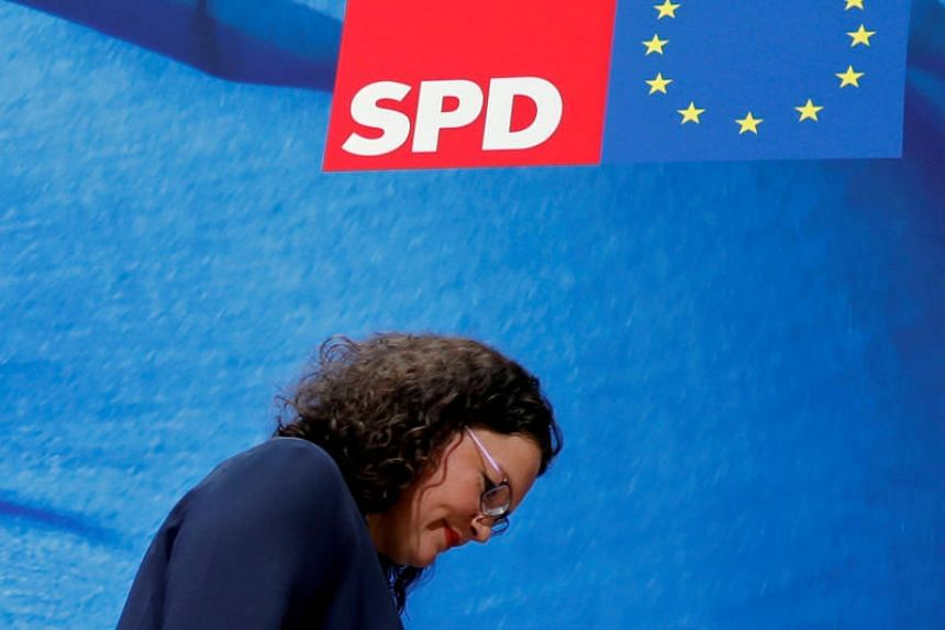 Andrea Nahles said she would resign as party leader of Germany's Social Democrats (SPD) on June 3 and step down as head of the SPD's parliamentary group on June 4, 2019.