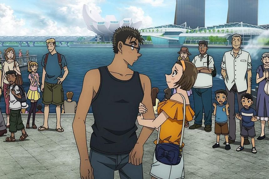 A scene (above) from Detective Conan: The Fist Of Blue Sapphire, featuring Singapore's landmarks.