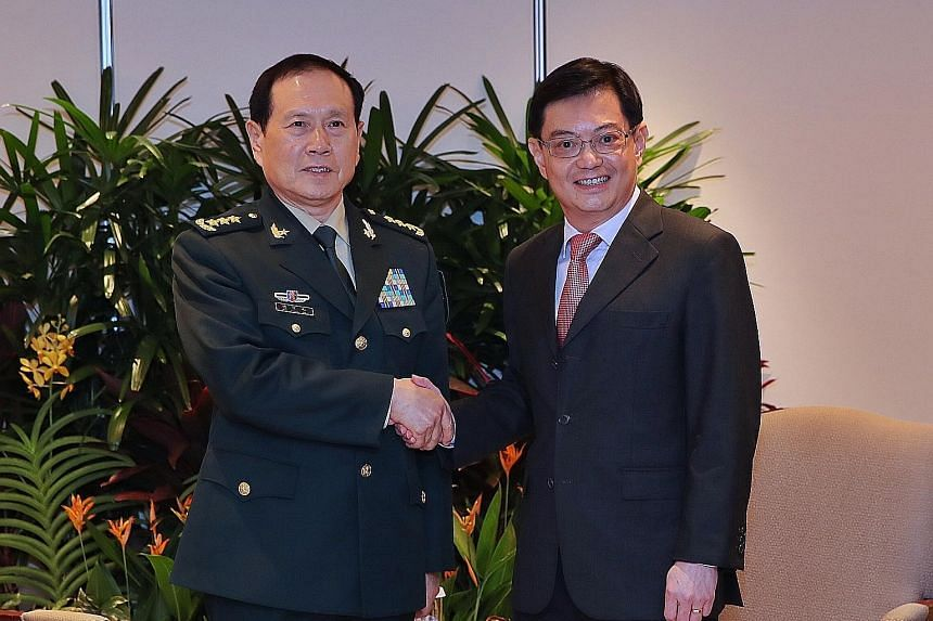 Chinese Defence Minister and State Councillor Wei Fenghe met Deputy Prime Minister Heng Swee Keat on the sidelines of the Shangri-La Dialogue yesterday. General Wei, who is also on an introductory visit to Singapore, congratulated Mr Heng on his new