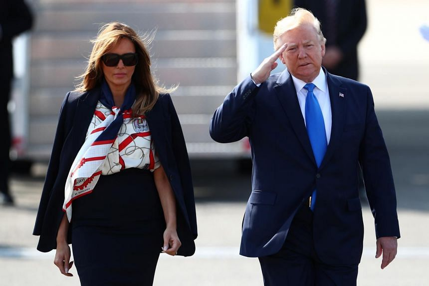 US President Donald Trump and First Lady Melania Trump arrive for their state visit to Britain, at Stansted Airport near London on June 3, 2019.