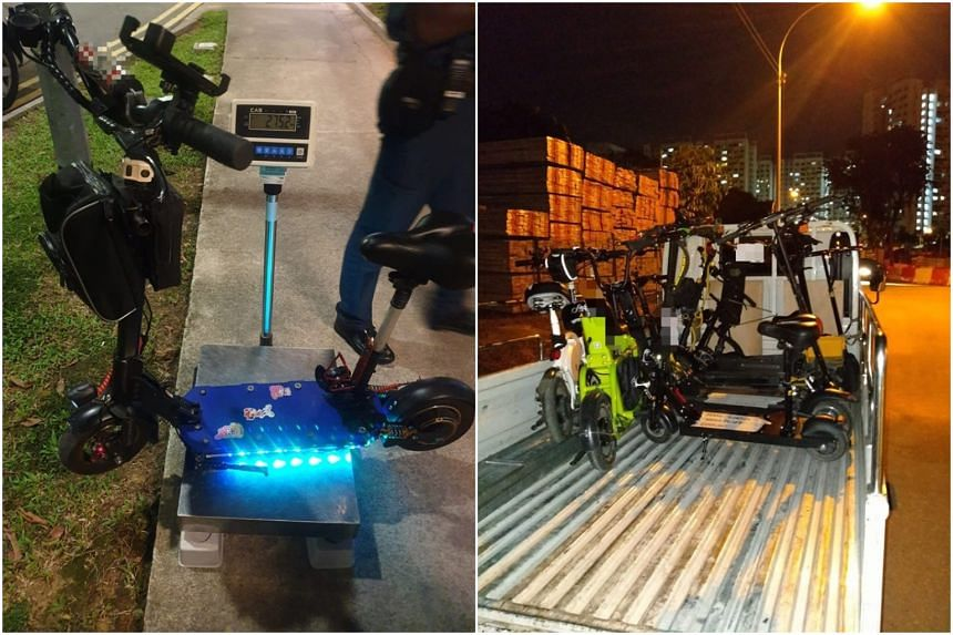 One of the impounded personal mobility devices (PMDs) weighed nearly 28kg. Other offences seen included the use of PMDs on the wrong paths.