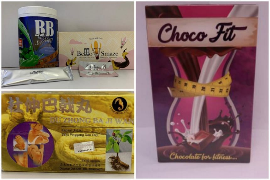 The products were tested by HSA and found to contain undeclared potent medicinal ingredients: (clockwise from top left) BB Body and Bello Smaze, Choco Fit and Seahorse Chop Du Zhong Ba Ji Wan.