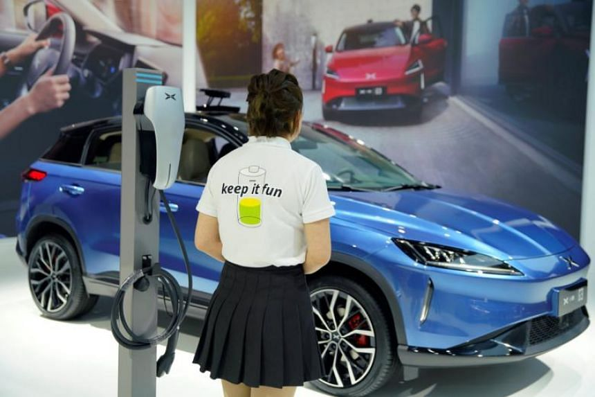 The booth of Xpeng Motors Technology, a start-up backed by Alibaba Group Holding and Foxconn Technology Group at the Shanghai auto show in Shanghai, China, on April 17, 2019.