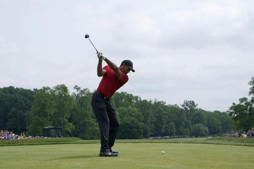 Tiger Woods hits his tee shot on the first hole during the final round of The Memorial Tournament Presented by Nationwide at Muirfield Village Golf Club on June 2, 2019 in Dublin, Ohio.