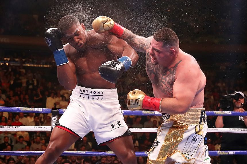 Mexican boxer Andy Ruiz Jr landing a punch on Britain's Anthony Joshua in their heavyweight title fight at Madison Square Garden. The referee ended the bout in the seventh round after Joshua was felled four times.
