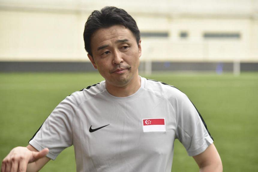 New national coach Tatsuma Yoshida during his first training session at the Jalan Besar Stadium on June 3, 2019.