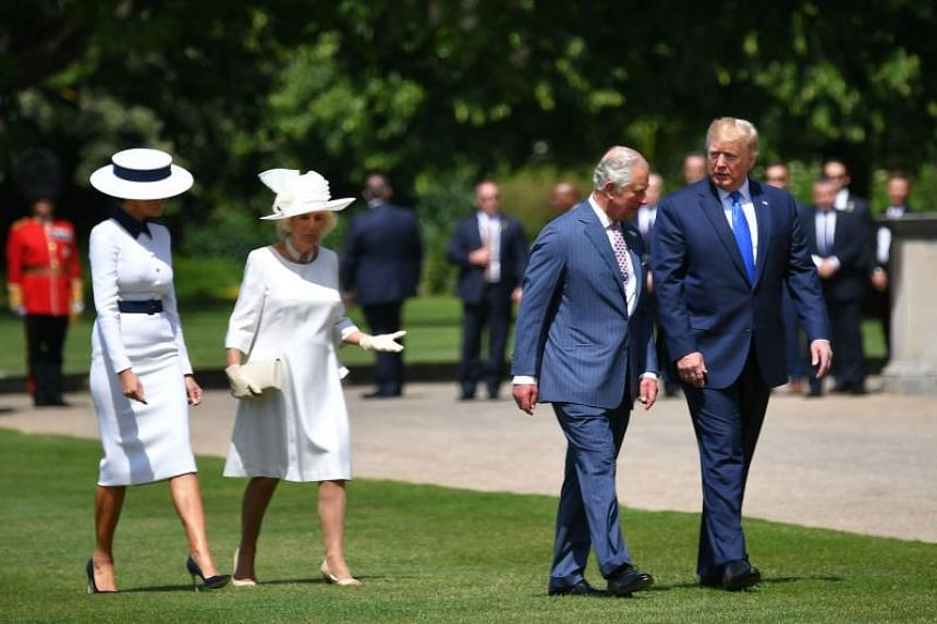 (From left) US First Lady Melania Trump, Britain's Camilla, Duchess of Cornwall, Prince Charles, Prince of Wales with US President Donald Trump head to a welcome ceremony at Buckingham Palace on June 3, 2019.
