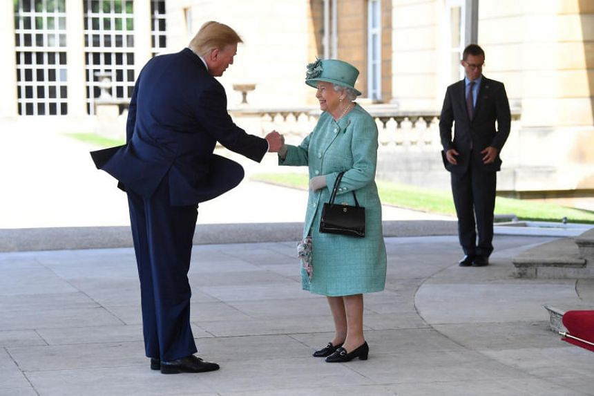 Britain's Queen Elizabeth II greets US President Donald Trump as he arrives for the Ceremonial Welcome at Buckingham Palace, in London, Britain on June 3, 2019.