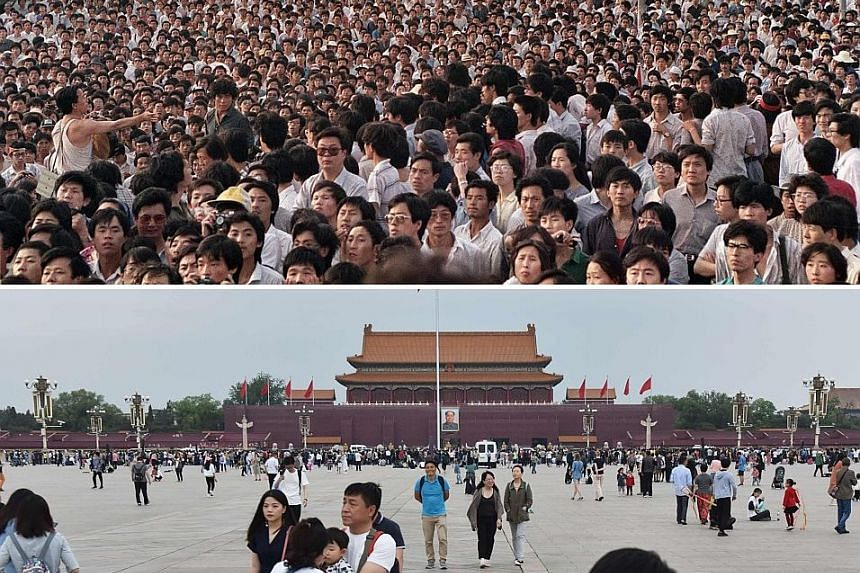 A file photo taken on June 2, 1989, showing pro-democracy protesters gathered near the Goddess of Democracy statue at Tiananmen Square in Beijing. The Tiananmen Mothers have so far compiled a list of 202 people who were killed in the protest. Members