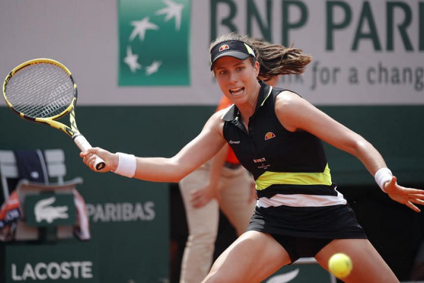 Britain's Johanna Konta in action during her quarter-final match at the French Open on June 4, 2019.
