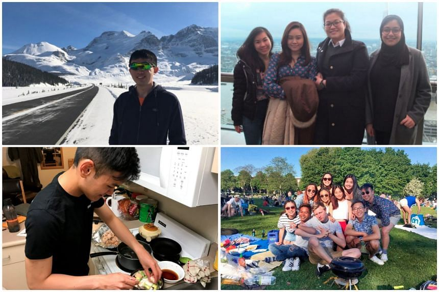 Four Singaporean foodies share their quick and easy recipes they tried out while abroad (clockwise from top left): Gerald Sim, Jane Wong, Kennedy Wong, Dinah Seng. PHOTOS: GERALD SIM, JANE WONG, KENNEDY WONG, DINAH SENG.