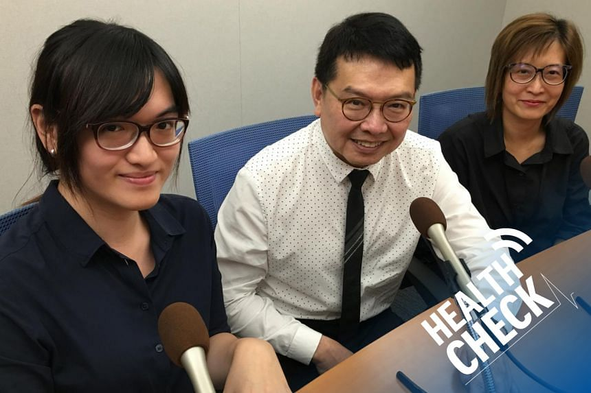 Dr Francis Seow-Choen (centre), a colorectal surgeon from Concord International Hospital, debunks common myths about colorectal cancer with Health Check podcast hosts Joyce Teo (right) and Rei Kurohi (left).