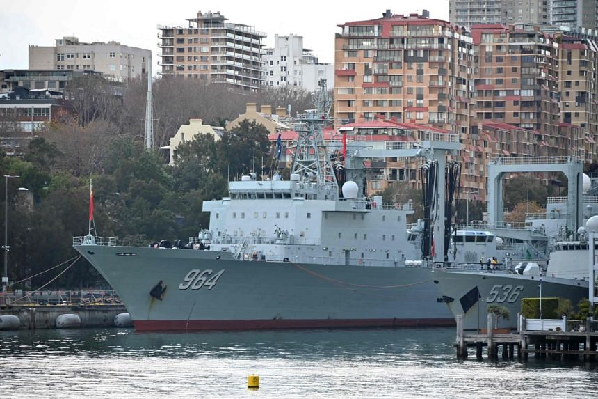 Chinese warships docked at the Garden Island naval base in Sydney, Australia, on June 3, 2019.