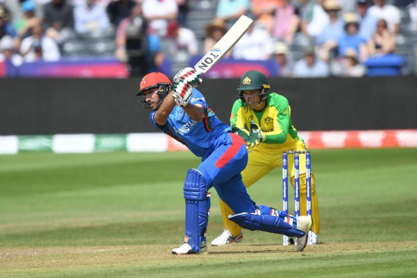 Afghanistan's Rahmat Shah plays a shot during the 2019 Cricket World Cup group stage match between Afghanistan and Australia at Bristol County Ground in Bristol, southwest England, on June 1, 2019.