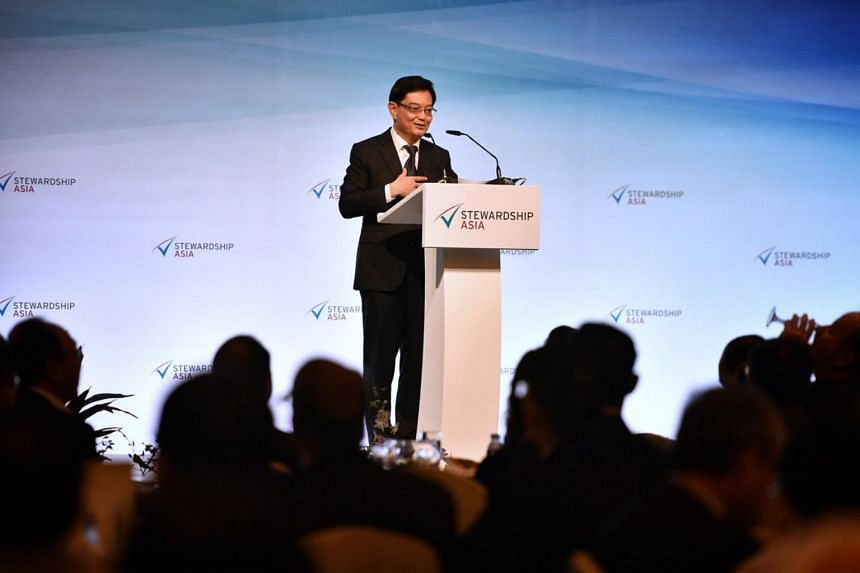 DPM Heng Swee Keat giving a speech at the Stewardship Asia Roundtable, on June 4, 2019.
