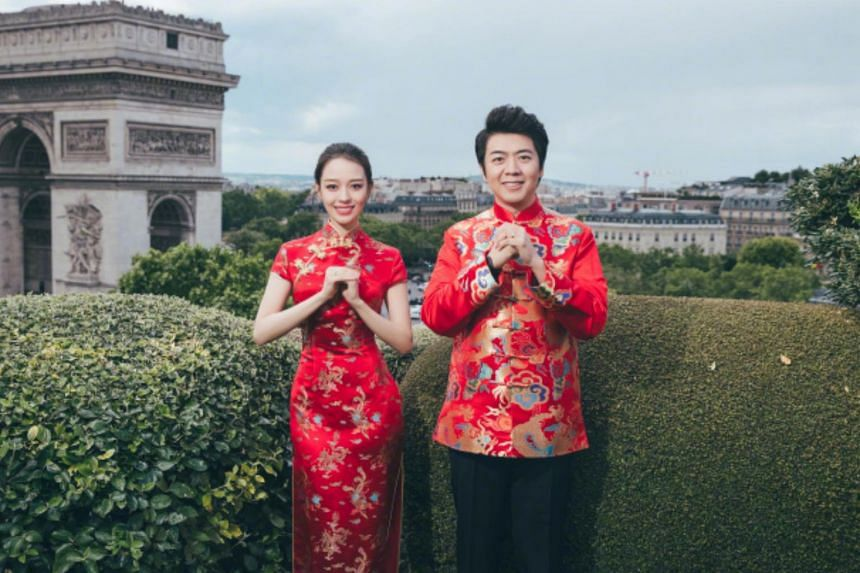 Image posted on Chinese pianist Lang Lang's Weibo account that accompanied the announcement of his marriage to Gina Alice Redlinger.