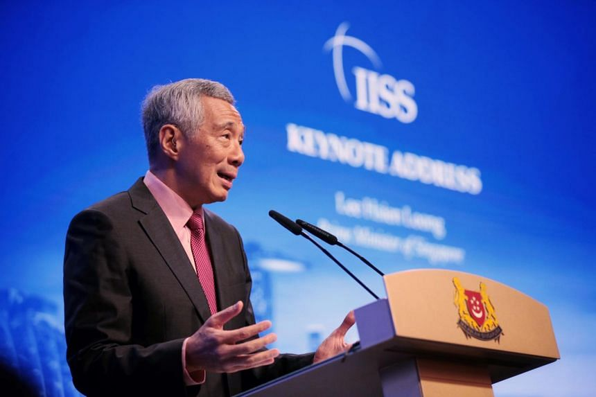 Prime Minister Lee Hsien Loong delivering his keynote address at the Shangri-La Dialogue on May 31, 2019.