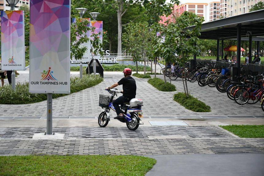 An e-scooter rider at My Tampines Hub on May 1, 2018.