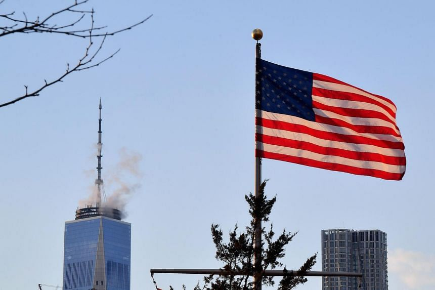 An American Flag seen from Brooklyn Bridge Park, on March 7, 2019, in New York City.