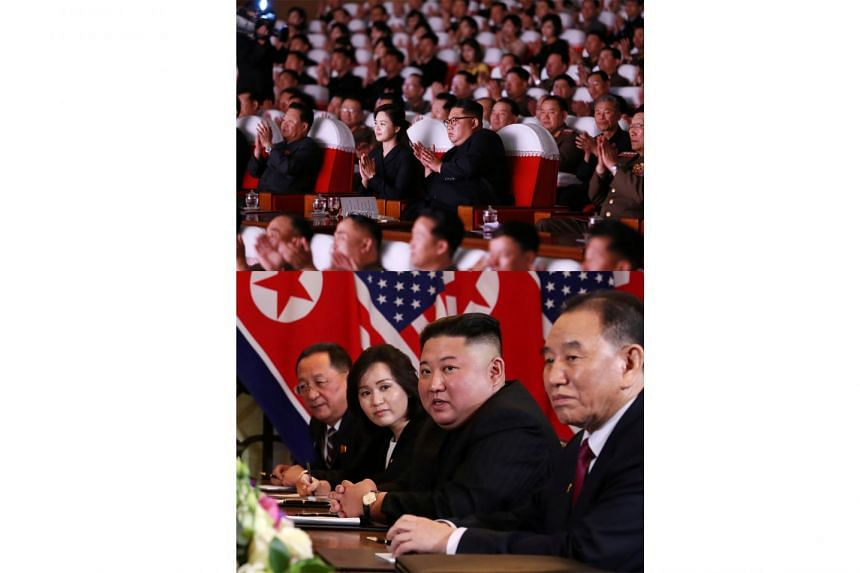North Korean leader Kim Jong Un and his wife, Ri Sol Ju, at a performance given by the wives of military officers on Sunday. Mr Kim Yong Chol was not seated next to the North Korean leader, unlike in former photos including the one below, taken durin