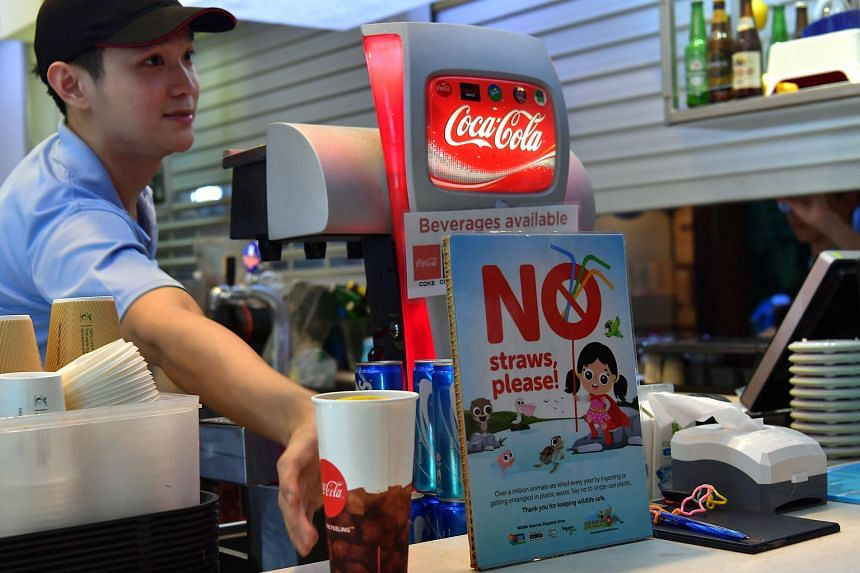 The Inuka Cafe at the Singapore Zoo. Twenty-four F&B outlets in the Singapore Zoo, Night Safari, River Safari and Jurong Bird Park are among the more than 270 outlets that will stop offering plastic straws from July 1.
