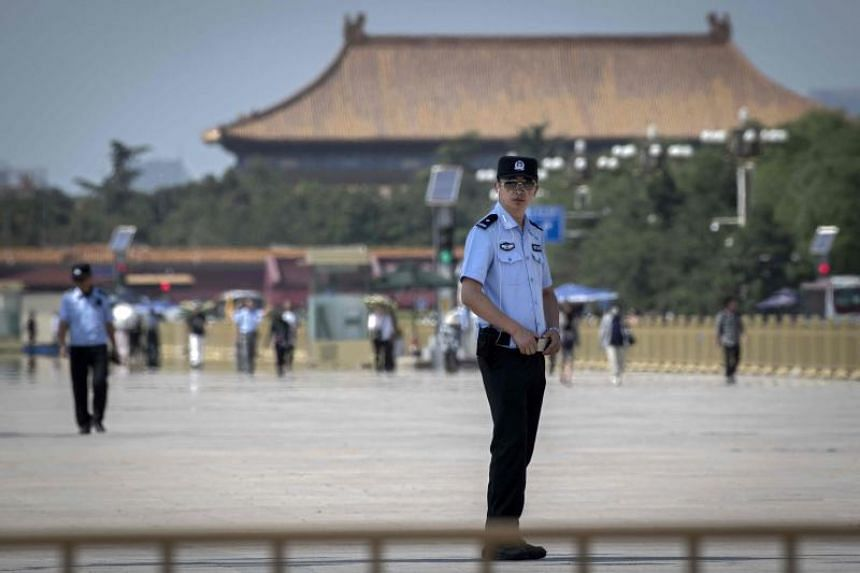 Police officers on duty at Tiananmen Square in Beijing on June 3, 2019.