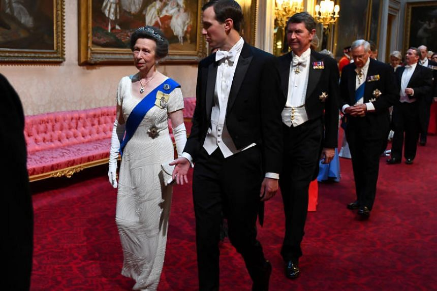 Britain's Princess Anne and US White House Adviser Jared Kushner arrive at Buckingham Palace, on June 3, 2019.