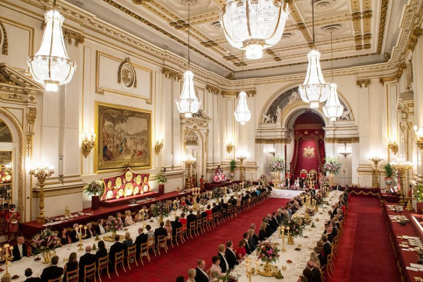 The state banquet was held at Buckingham Palace in London, Britain, on June 3, 2019.