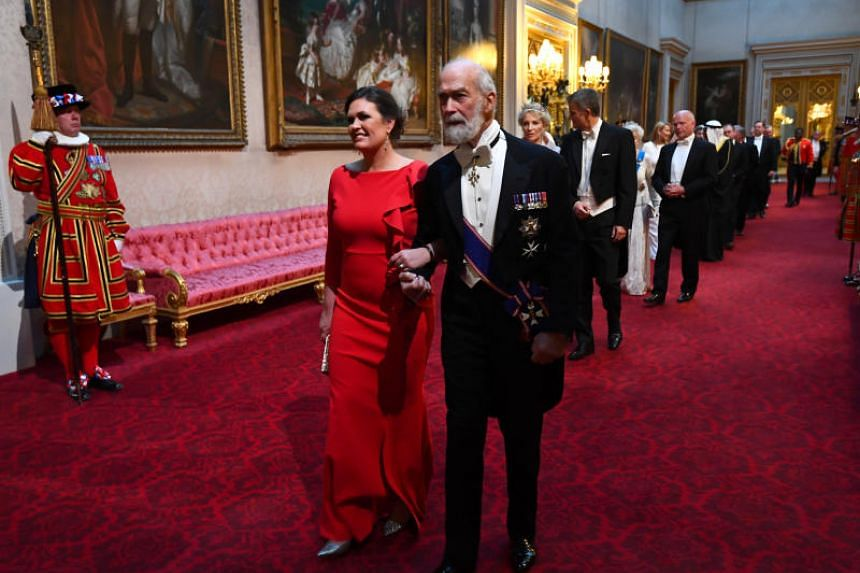 Sarah Huckabee Sanders and Prince Michael of Kent arrive for the state banquet on June 3, 2019.