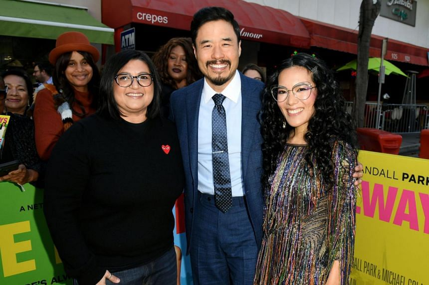 "(From left) Director Nahnatchka Khan with Randall Park and Ali Wong arrive at the premiere of Netflix's ""Always Be My Maybe"" at the Regency Village Theatre on May 22, 2019."