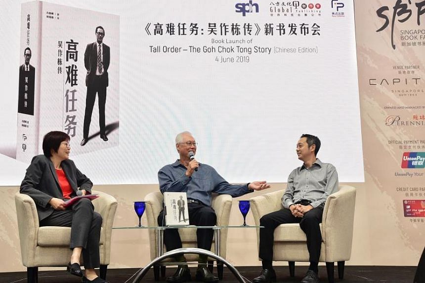 (From left) Ms Lee Huay Leng, head of Singapore Press Holdings' Chinese Media Group, Emeritus Senior Minister Goh Chok Tong and Mr Peh Shing Huei, author of Mr Goh's biography, Tall Order: The Goh Chok Tong Story, on a panel at the launch of the Chin