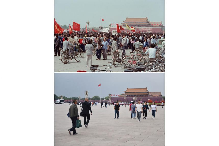 (Top) A pro-democracy protest at Tiananmen Square in Beijing on May 15, 1989. (Bottom) People at Tiananmen Square in Beijing on May 29, 2019.