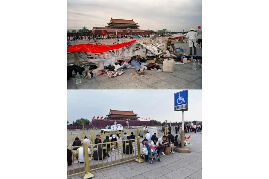 (Top) Students sleeping on the ground at Tiananmen Square in Beijing as student sit-ins entered their nineth day during the Beijing Spring movement on May 21, 1989. (Bottom) People at Tiananmen Square in Beijing on May 18, 2019.