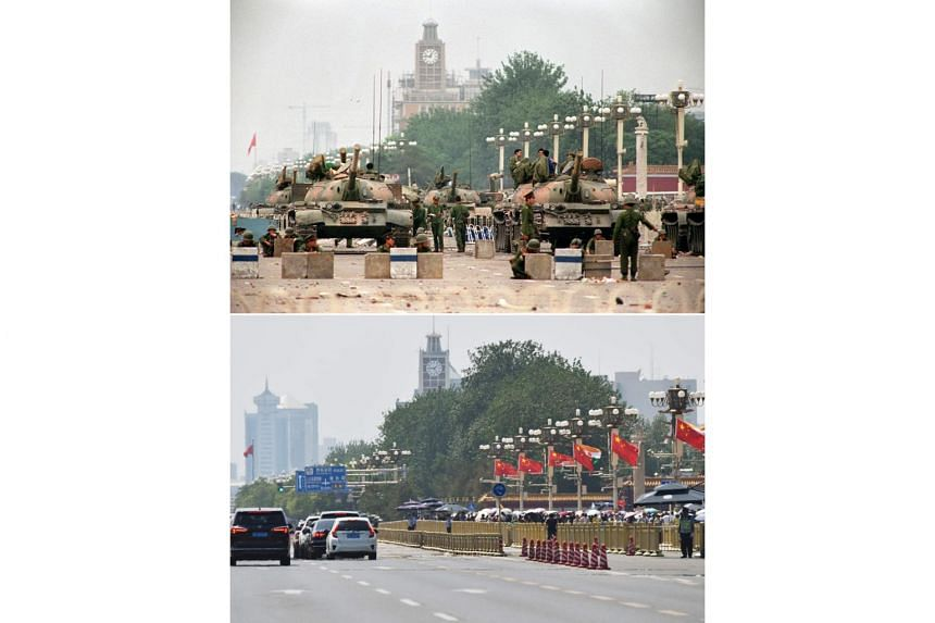 (Top) People's Liberation Army tanks and soldiers guarding Chang'an Avenue leading to Tiananmen Square in Beijing two days after their crackdown on pro-democracy protesters on June 6, 1989. (Bottom) Traffic on Changan Avenue in front of flags flying