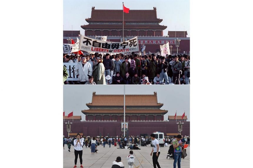 (Top) Students and locals gathered at Tiananmen Square in Beijing after an overnight hunger strike as part of the mass pro-democracy protest against the Chinese government on May 14, 1989. (Bottom) People at Tiananmen Square in Beijing on May 18, 201
