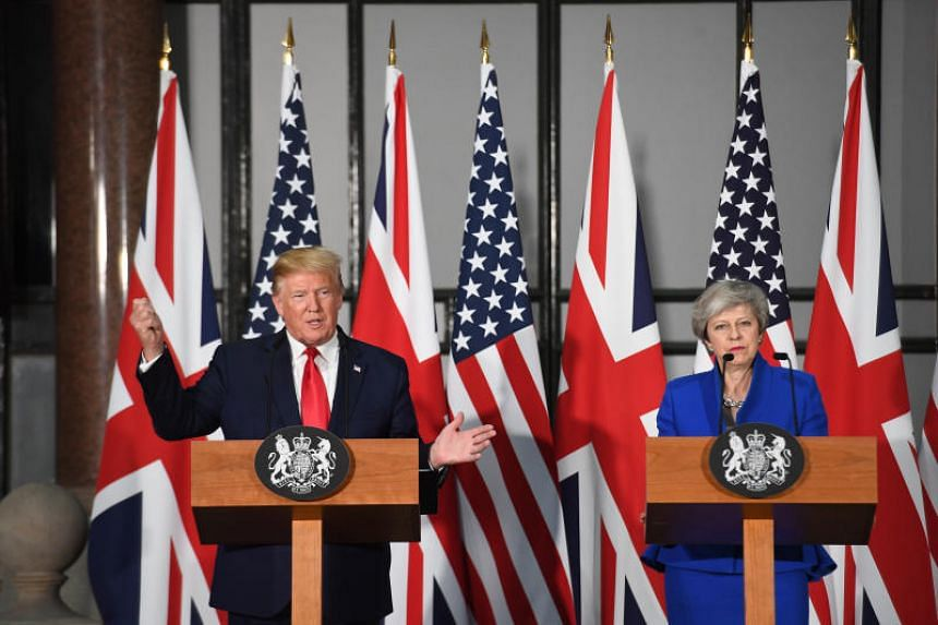 US President Donald Trump and British Prime Minister Theresa May at a news conference in London on June 4, 2019.