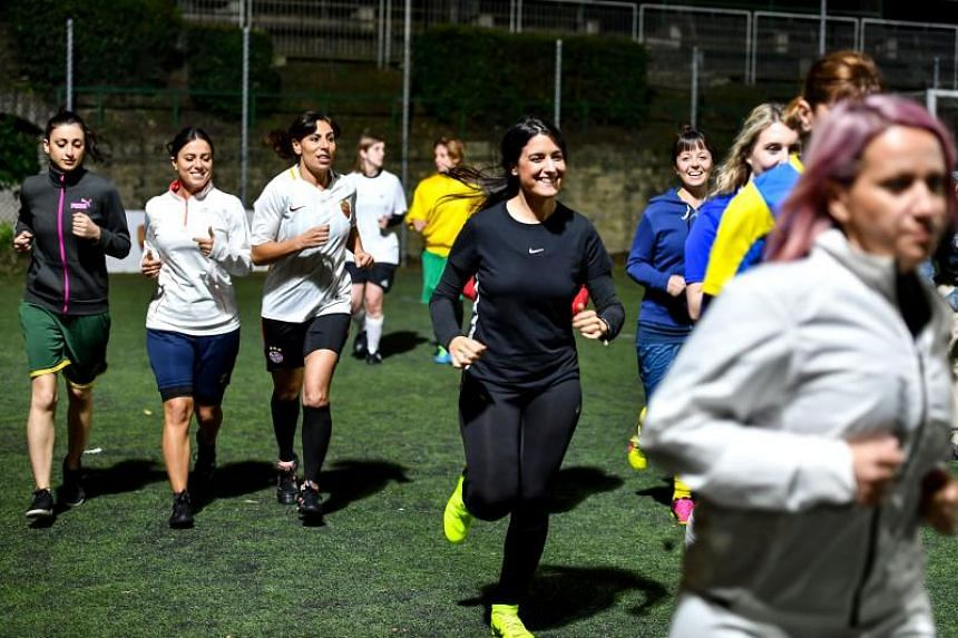 The group of about 20 women - including Vatican employees, wives and workers from the Bambino Gesu pediatric hospital administered by the Holy See - meet once or twice a week to train on the grounds of the Pius XI sports centre in Rome.