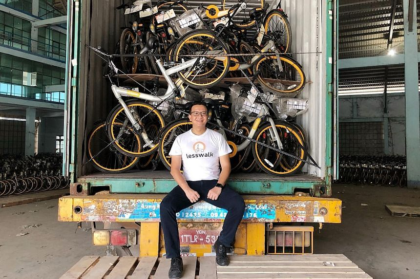 Myanmar entrepreneur Mike Than Tun Win, founder of Lesswalk, aims to distribute the bikes to needy students in Myanmar.