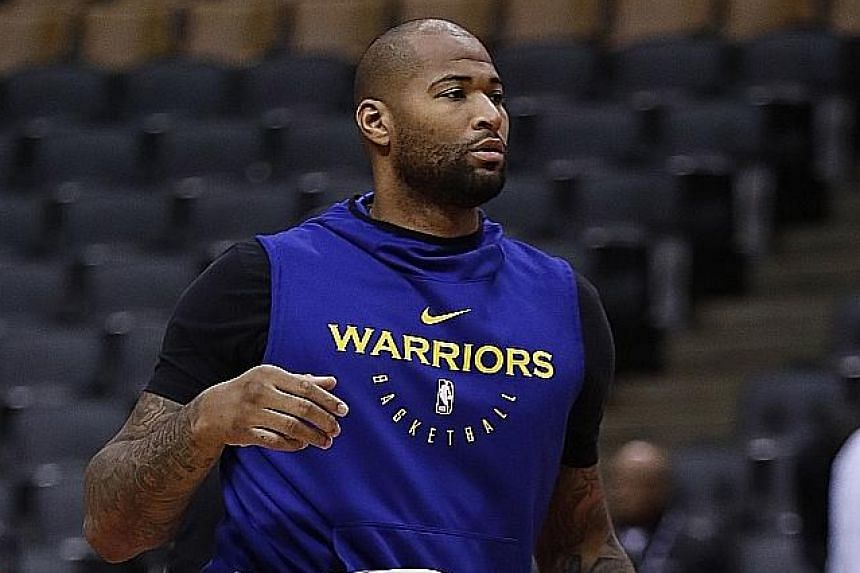 Golden State will be relying more on DeMarcus Cousins in Game 3 of the NBA Finals against Toronto at home today. The centre has just returned from injury after six weeks out, playing eight minutes in Game 1 and 28 in Game 2 in Toronto. PHOTO: EPA-EFE