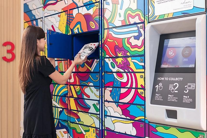 Above: Singtel's Singapore consumer chief Yuen Kuan Moon says unmanned stores could be one of the ways to apply 5G technologies. Left: Customers can collect their purchases on the spot from the in-store POPStation.