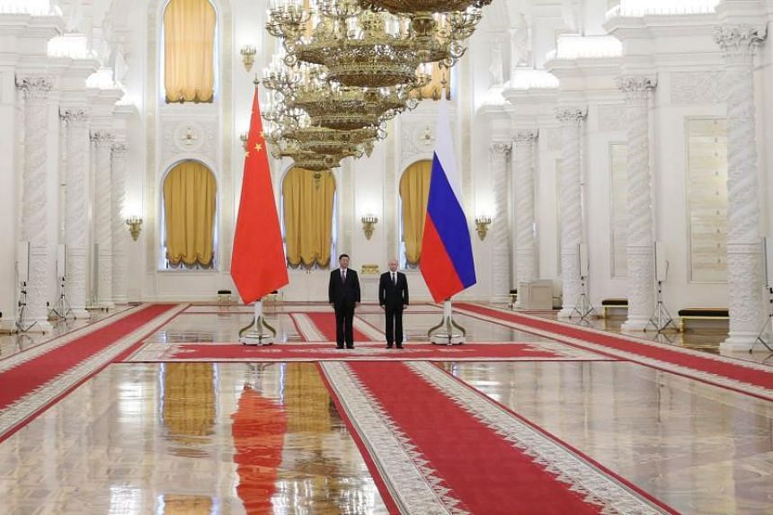 Russian President Vladimir Putin and his Chinese counterpart Xi Jinping at the Kremlin in Moscow on June 5, 2019.