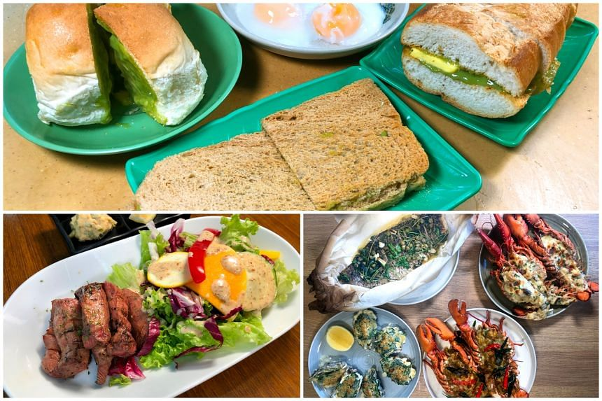 (Clockwise from top) Kaya toast at Seng Huat Traditional Coffee, highlights of the Fathers' Day Brunch at Sky22 at Courtyard by Marriot Singapore Novena and Ox Tongue Steak at Deli's Kitchen.