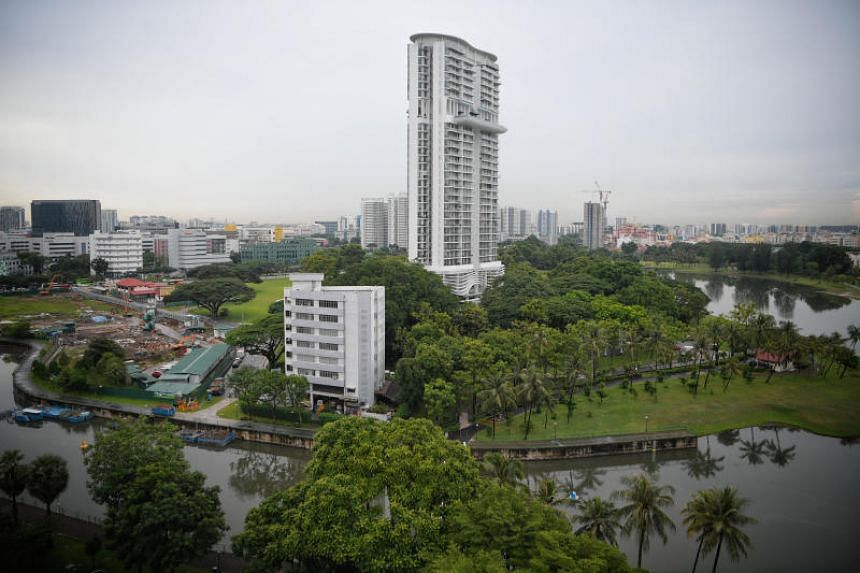 The area of Kampong Bugis (foreground) as seen on June 6, 2019. The site will be released for sale under the reserve list to a master developer under the government land sales programme for the second half of 2019.