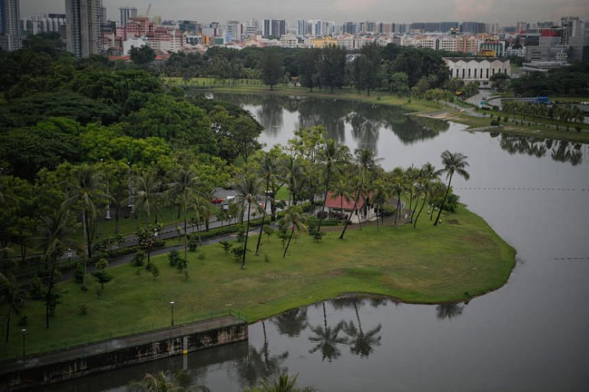 The area of Kampong Bugis (left) as seen on June 6, 2019. The site will be released for sale under the reserve list to a master developer under the government land sales programme for the second half of 2019.