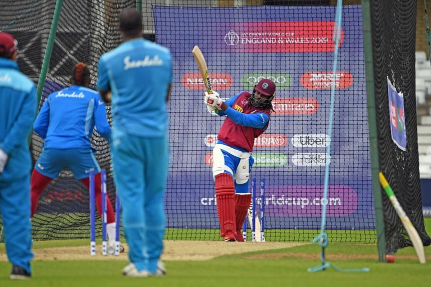 West Indies' Chris Gayle bats in the nets during a training session at Trent Bridge in Nottingham, central England, on June 5, 2019, on the eve of their 2019 Cricket World Cup match against Australia.