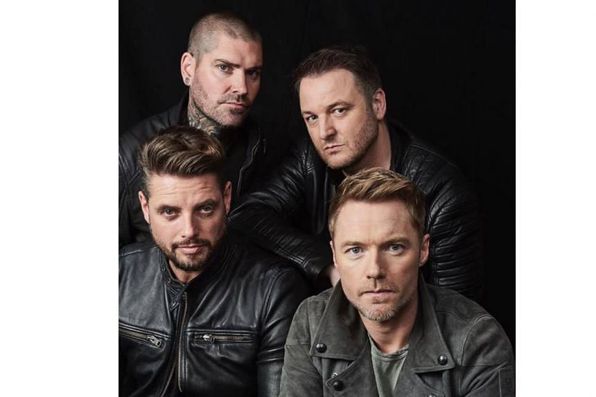 Irish boyband Boyzone comprise (clockwise from top left) Shane Lynch, Mikey Graham, Ronan Keating and Keith Duffy.