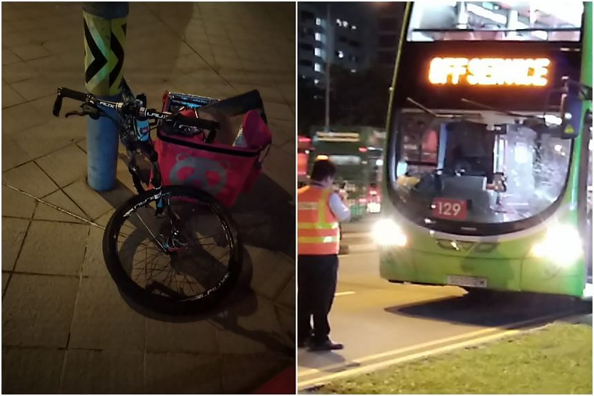Photos sent to citizen journalism site Stomp show a damaged bicycle with a Foodpanda delivery bag, with its front wheel bent out of shape.
