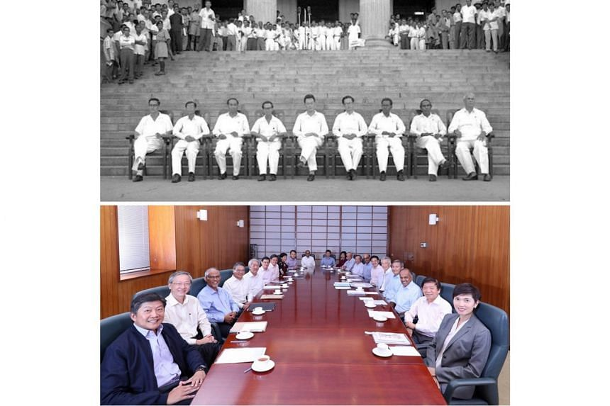 Prime Minister Lee Hsien Loong shared two photos taken six decades apart - one of the first Cabinet and one of the 14th Cabinet - on Facebook on June 5, 2019.