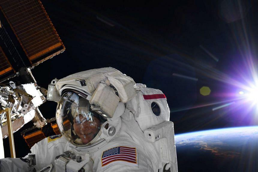 Nasa astronaut Anne McClain is seen during an ISS spacewalk in March 2019.